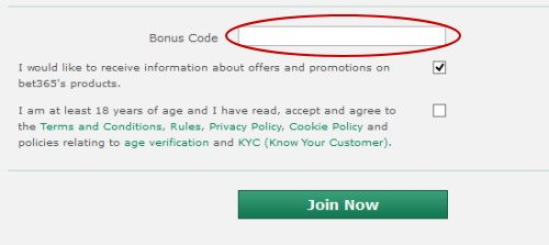 Where to input the Bet365 bonus code