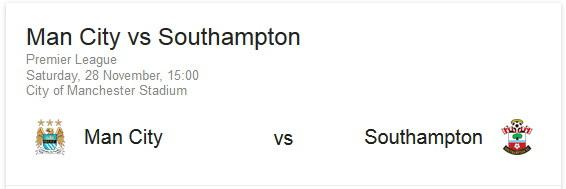 Man City vs Southampton match info
