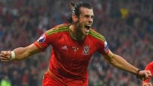 Gareth Bale celebrates scoring a goal for Wales.