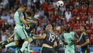 Cristiano Ronaldo scoring against Wales.