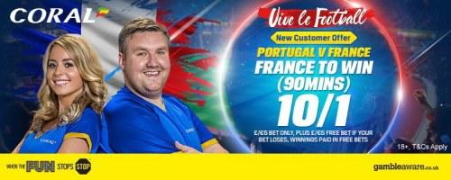 Coral France v Portugal Euro 2016 Final 10/1 Offer