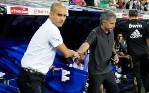 Pep Guardiola and Jose Mourinho have a frosty handshake.