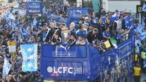 Leicester title win open top bus parade.