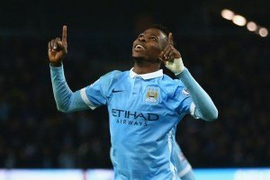 Kelechi Iheanacho celebrates scoring for Man City