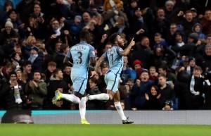Raheem Sterling celebrates scoring the winner against Arsenal earlier on in the season.