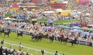 The scene as the horses reach the closing stages of the Epsom Derby.