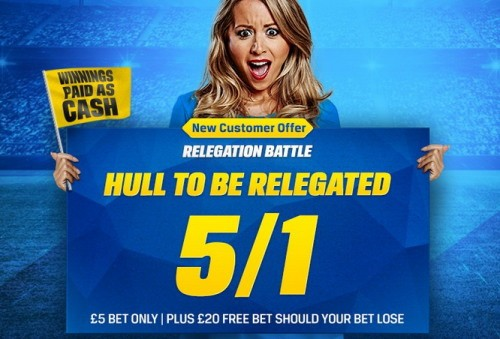Coral 5/1 Odds for Hull City to be relegated