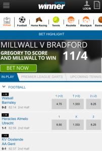 Snapshot of Winner's Mobile Site