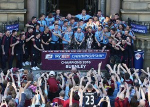 Burnley celebrate winning the Championship title.