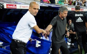 Pep Guardiola and Jose Mourinho have a frosty handshake.