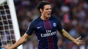 Edinson Cavani scored an early goal against Arsenal in Paris.