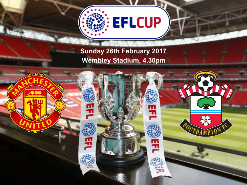 Man Utd vs Southampton EFL Cup Final Logos