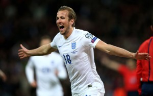 Harry Kane celebrates scoring against Lithuania in Euro 2016 qualifying. Who will step up to replace him on Sunday?
