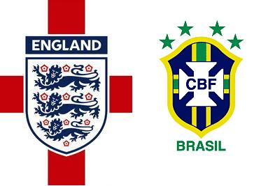 England vs Brazil Flags